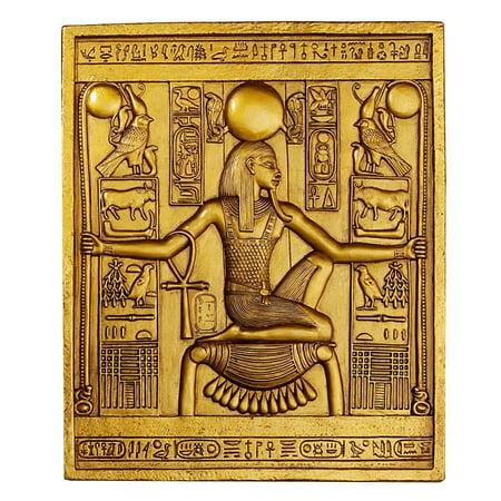 Egyptian Plaque (Ancient Egyptian Temple Wall Decor King Tut Sculptural Plaque)