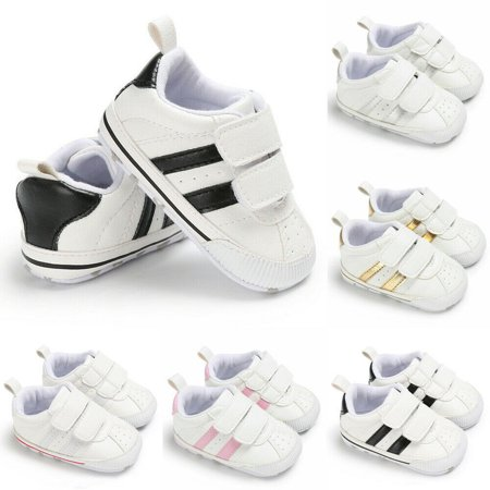 Infants Baby Boy Girl Summer Walking Soft Sole White Pram Shoes Trainers