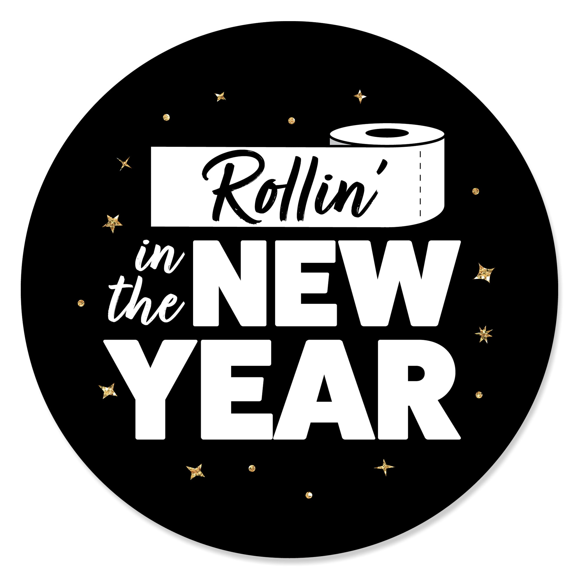 Big Dot of Happiness Rose Gold Happy New Year 24 Count 2021 New Years Eve Party Circle Sticker Labels