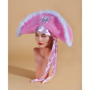 Star Power Fluffy Feather Pirate Costume Hat with Bandana, Pink, One Size