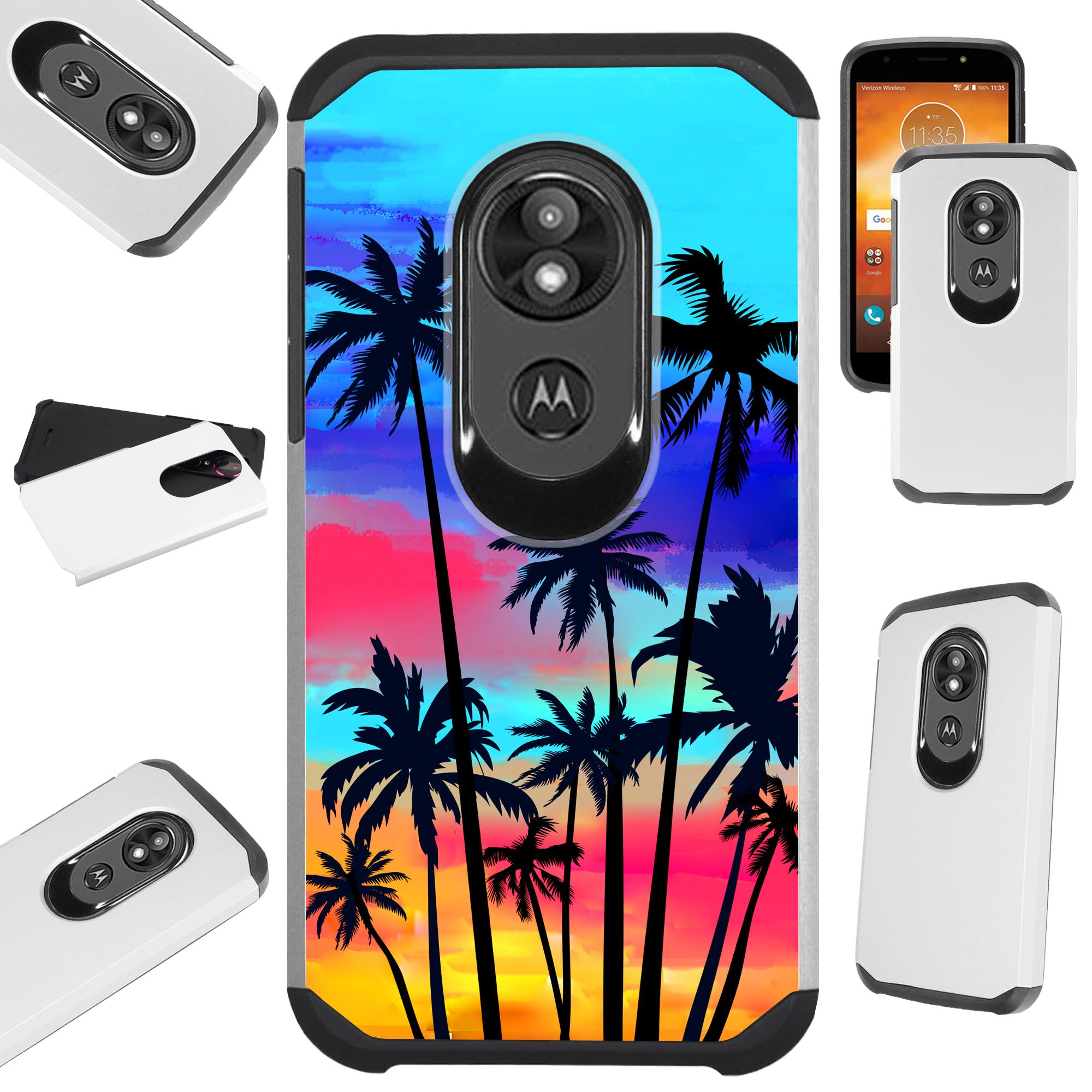 For Motorola Moto G6 Play | Moto G6 Forge Case Hybrid TPU Fusion Phone Cover (Sunset Palm Tree)