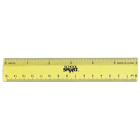 School Smart Lightweight Strong Plastic Ruler, 6 Inches, Pack of