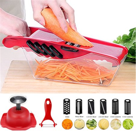- WALFRONT 5-Blade Vegetable Slicer Mandoline Slicer with Peeler,Slicer Dicer Onion Chopper,Vegetable Dicer Food Chopper Dicer Pro for Potato,Tomato,Onion,Cucumber,Hand Protector,Food Storage Container