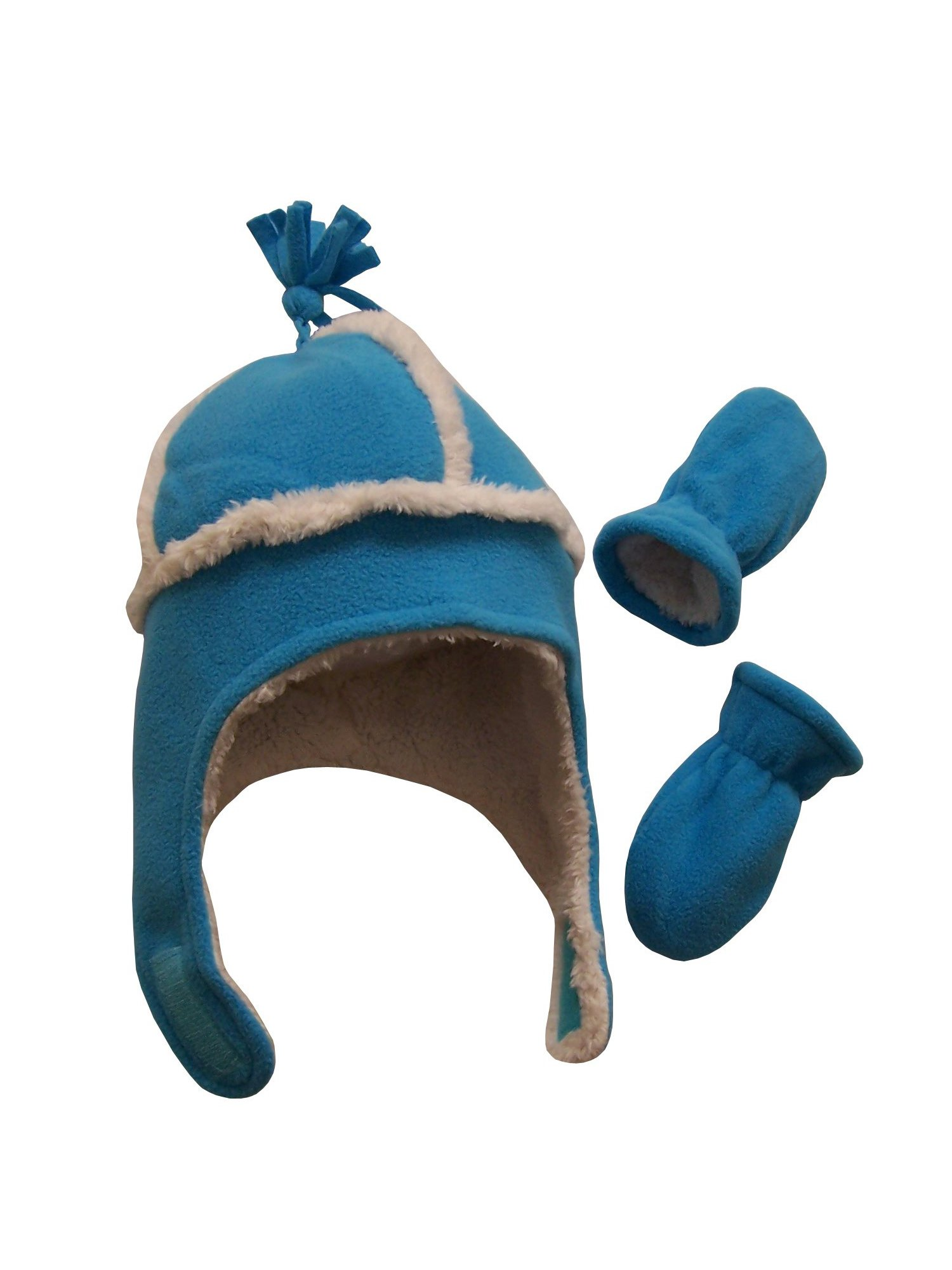 NIce Caps Toddler Girls and Baby Sherpa Lined Micro Fleece Winter Hats 2 Pack