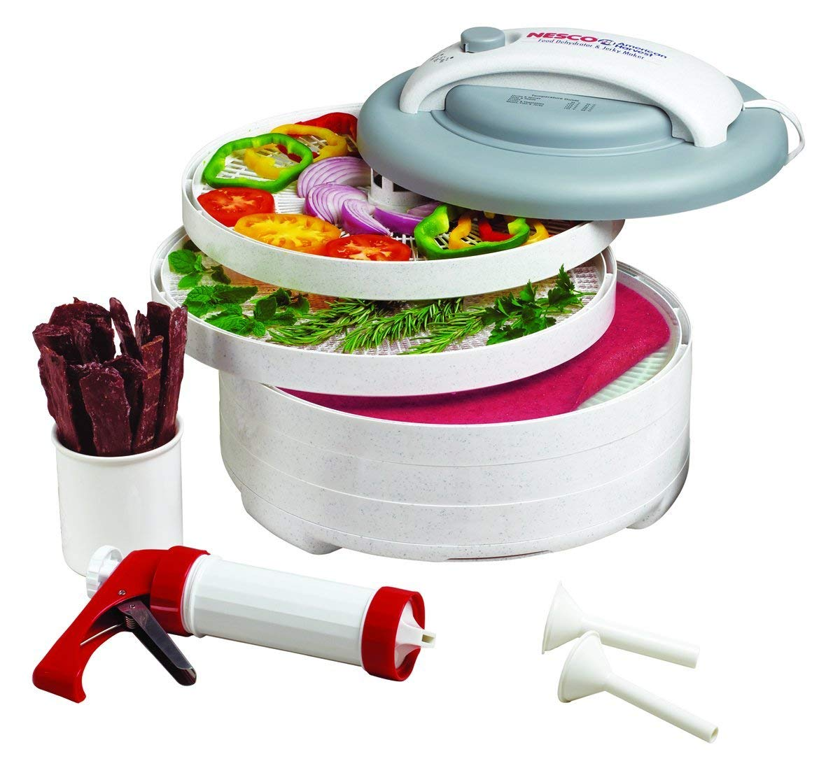 NESCO Plastic Dishwasher Safe All-In-One White Snackmaster with 5 Trays & Jerky Gun, 4 Piece
