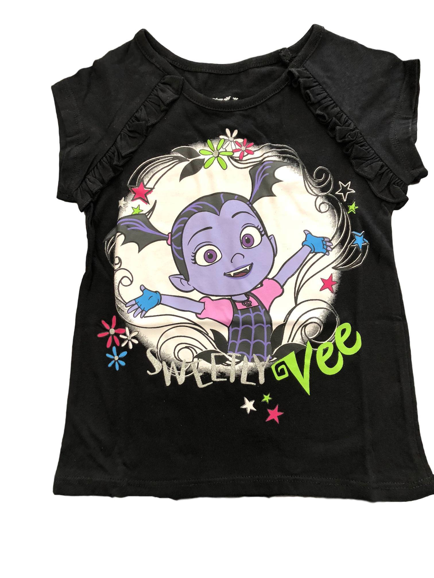 Disney Vampirina Girls' Short Sleeve Shirt, 2T-6X, Pink, Purple, Black