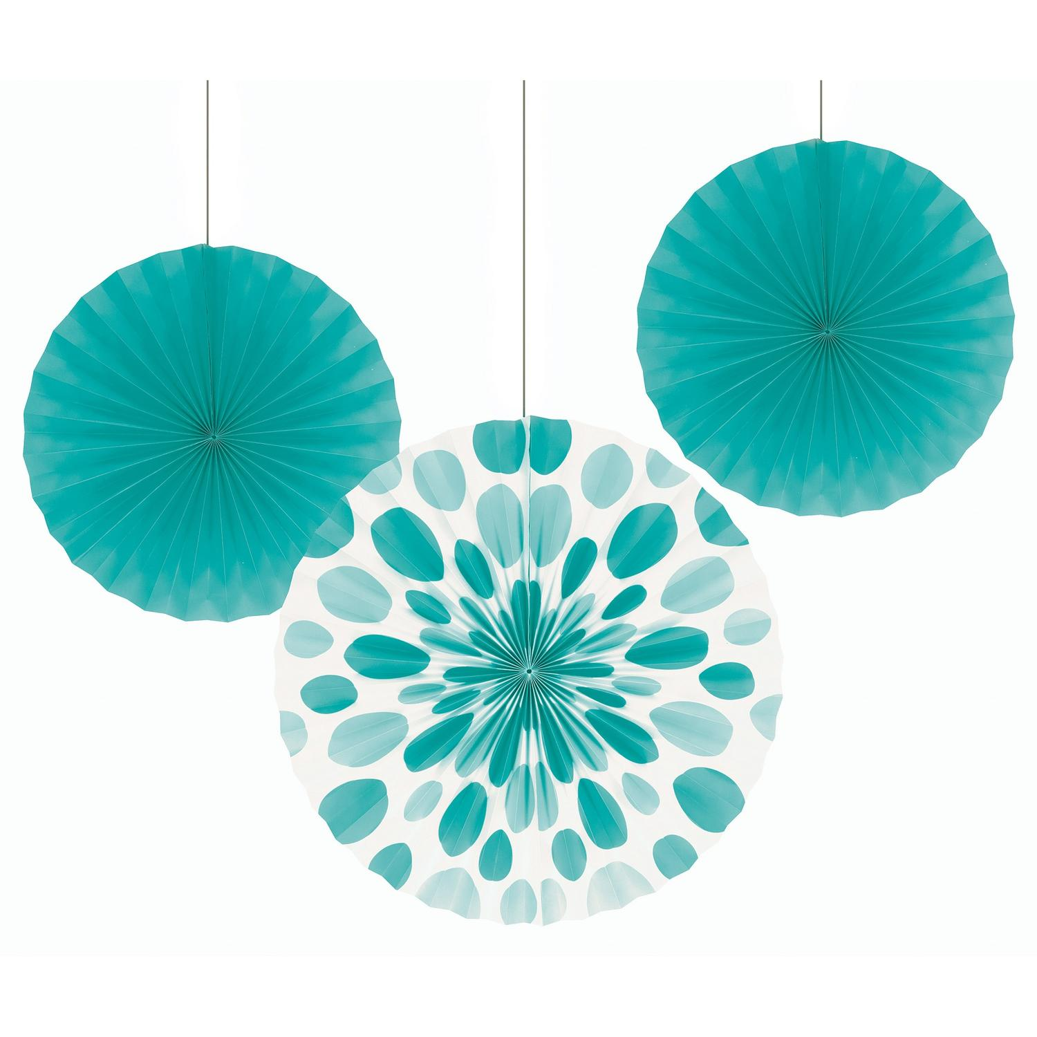 """Club Pack of 18 Teal Lagoon Hanging Tissue Paper Fan Party Decorations 16"""""""