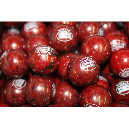 BASYIDE CANDY GUMBALLS BLACK CHERRY BUBBLE GUM 25mm or 1 inch , 1LB - Black Gum Balls