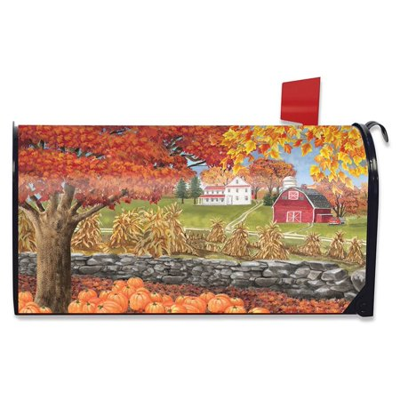 Autumn Day Scene Magnetic Mailbox Cover Fall Leaves Standard Briarwood Lane