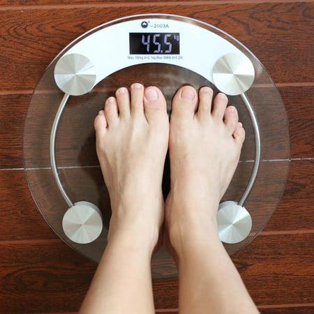 Round Digital Lcd Glass Bathroom Scale High Precision Body Weight Bath Scale  Yaste