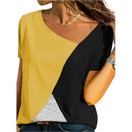 Plus Size Women Patchwork Summer Short Sleeve Blouse Casual Tops T