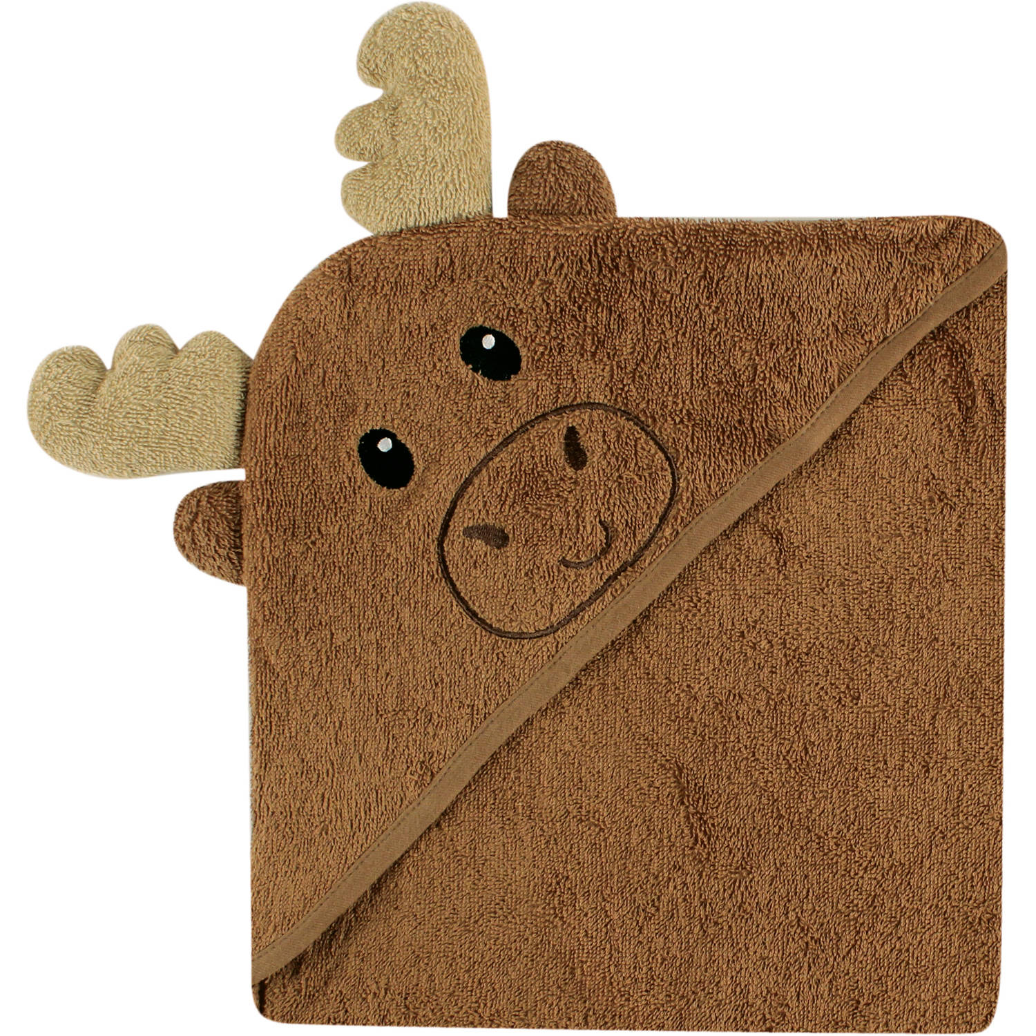 Luvable Friends Baby Boy or Girl Unisex Hooded Bath Embroidered Towel, Moose