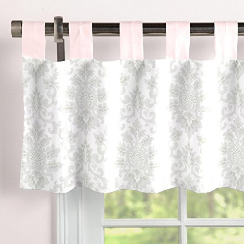 Carousel French Gray and Pink Damask Window Valance Tab-Top