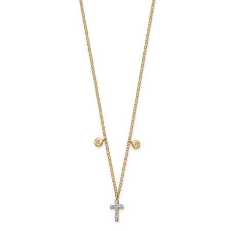 Roy Rose Jewelry 14K Yellow Gold Diamond Cross Necklace 1/20-Carat
