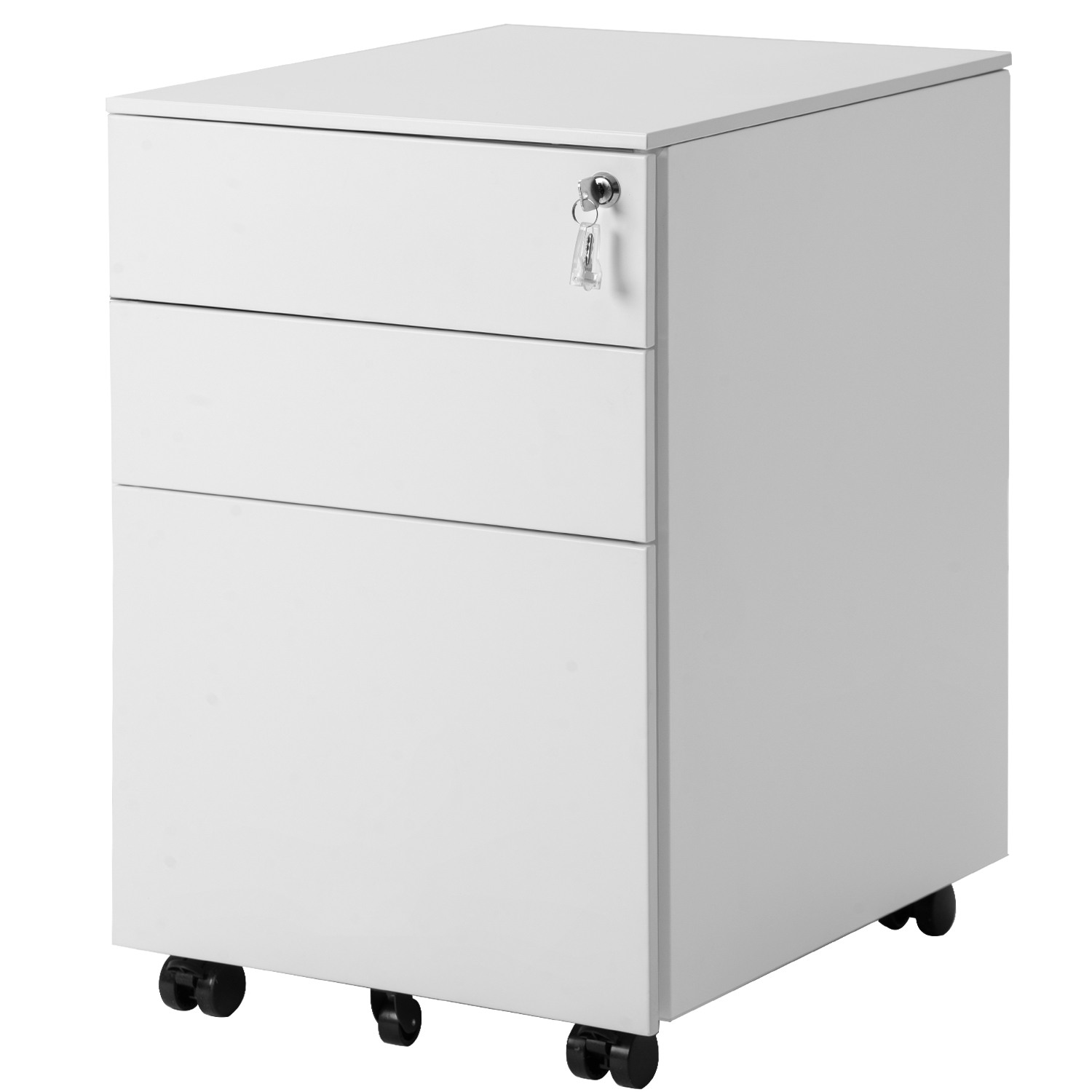 Mobile File Cabinet with 35-Drawers, Heavy Duty Metal Locking File Cabinet,  Large Modern White Vertical Office File Cabinets, Pedestal File Storage