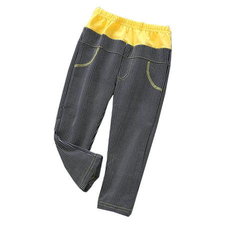 Girls Elastic Waist Pants - StylesILove Little Girl Long Stripe Elastic Waist Casual Pants - 4 Colors (120/5-6 Years, Yellow+Black)