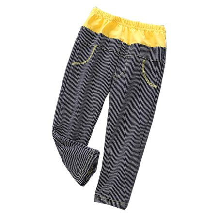 Girls Elastic Waist Pants - StylesILove Little Girl Long Stripe Elastic Waist Casual Pants - 4 Colors (120/5-6 Years, Yellow+Black)