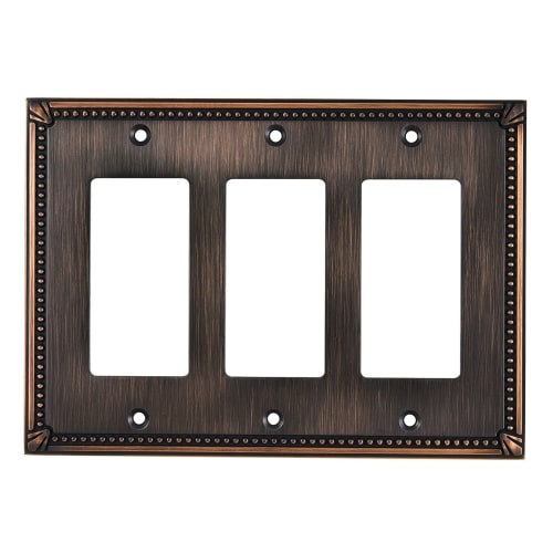 Richelieu BP86111 Triple Traditional Rocker Switch Plate from the Decora Collection