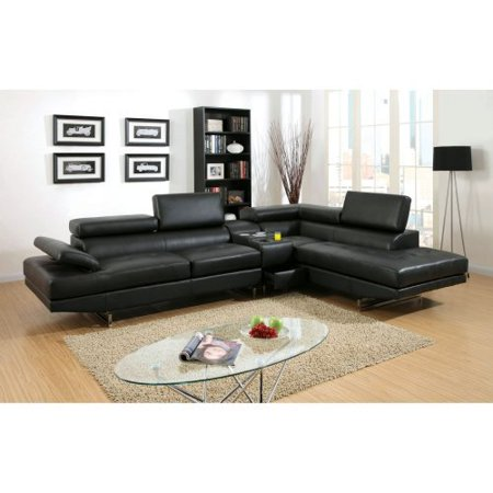 Furniture of America Roselyn 2 Piece Sectional Sofa with Optional Console - Black