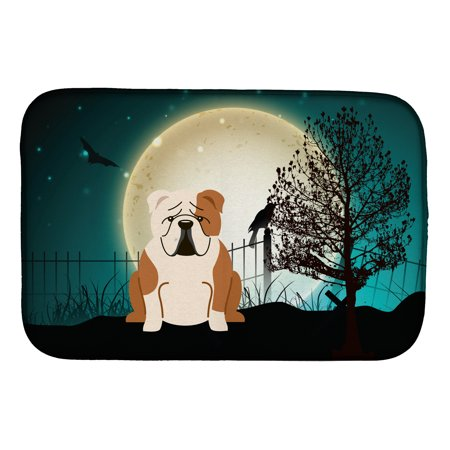 Halloween Scary English Bulldog Fawn White Dish Drying Mat](Scary Side Dishes For Halloween)