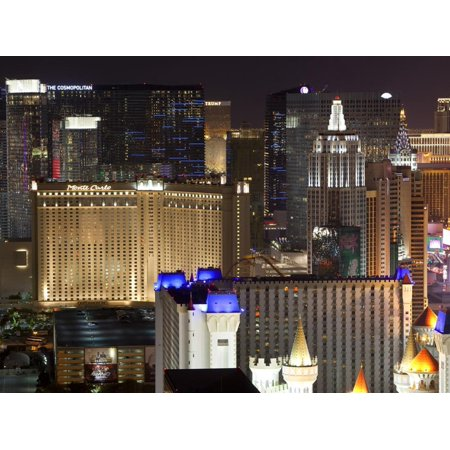 Elevated View of Casinos on the Strip at Night, Las Vegas, Nevada, USA, North America Print Wall Art By Gavin