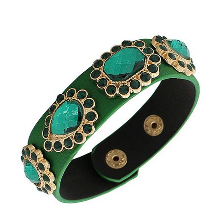 Faux Green Leather Yellow Gold-Tone CZ Snap Wristband Womens Bangle Bracelet - Snap Wristbands