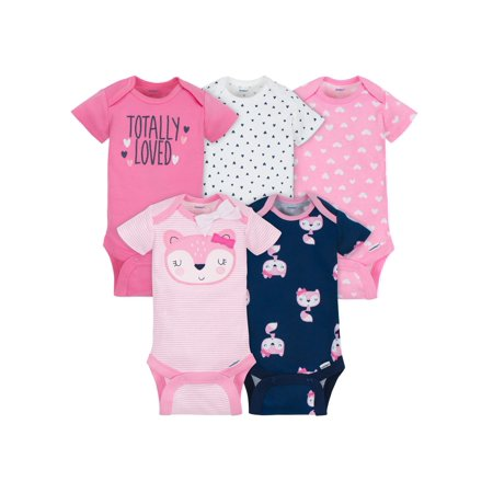 Gerber Assorted Short Sleeve Onesies Bodysuits, 5pk (Baby Girls)
