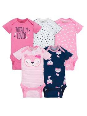07766710c Product Image Gerber Assorted Short Sleeve Onesies Bodysuits, 5pk (Baby  Girls)