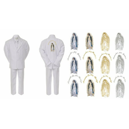 Baby Boy Kid Christening Baptism White Suit Guadalupe Mary Maria on Back Sm-7 - Full Body Gorilla Suit