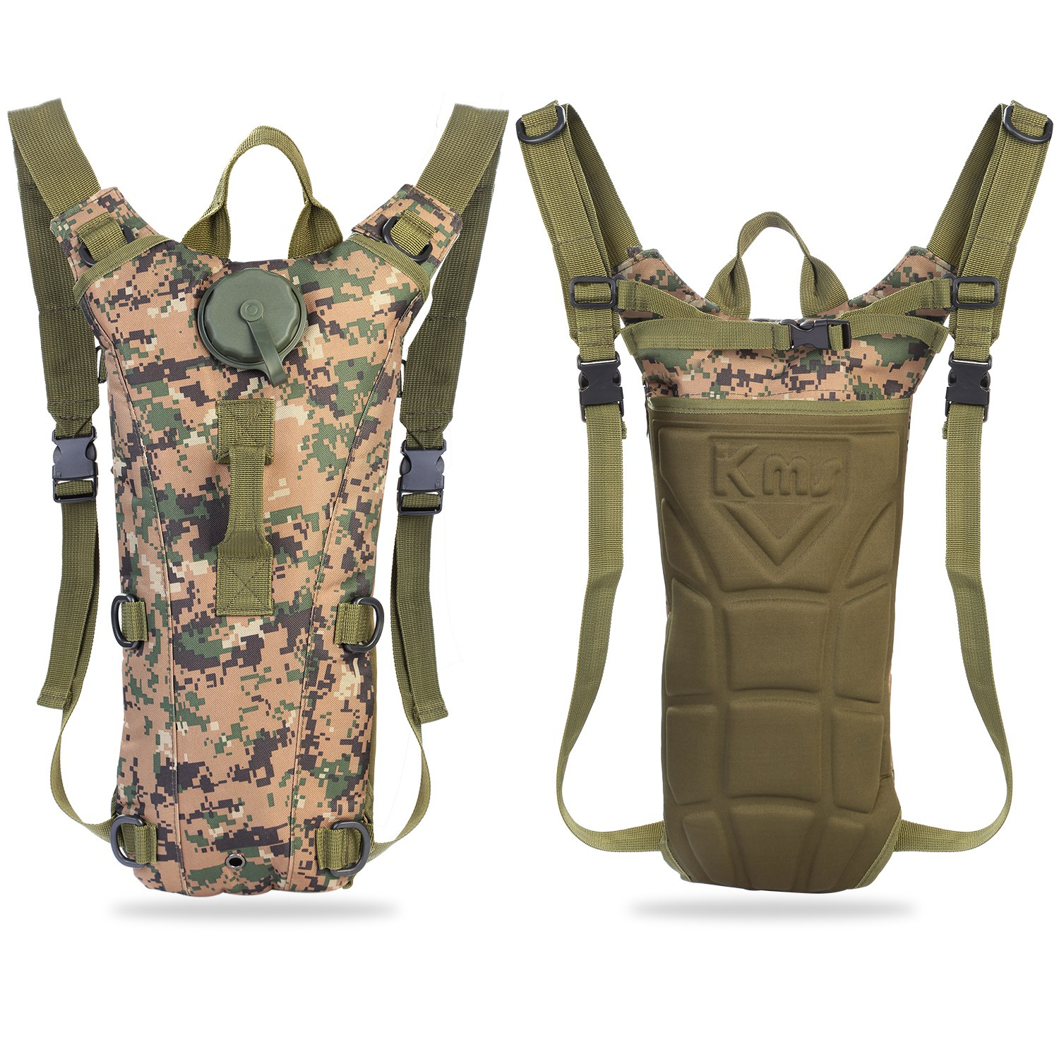 Water Bladder Bag Hydration Backpack Camo Pack Outdoor Hiking Camping Cycling 3L