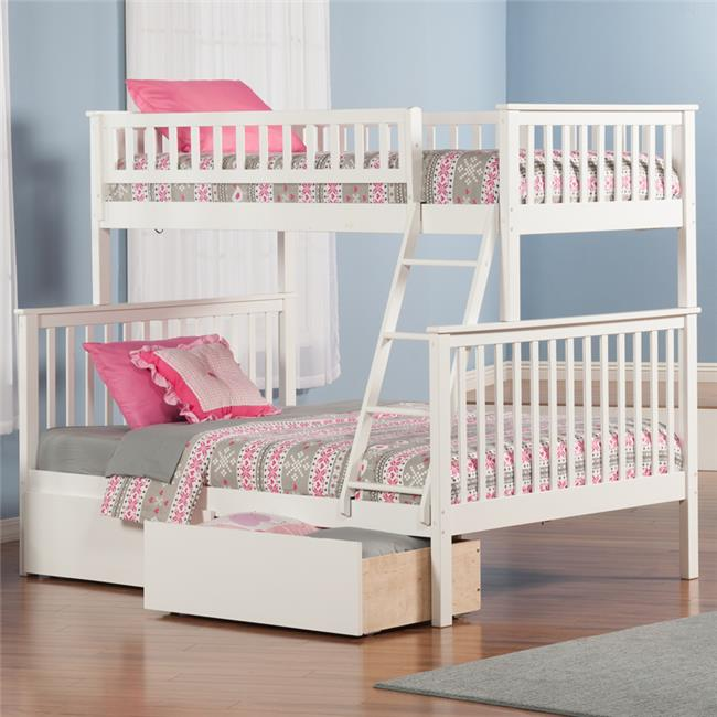 Woodland Bunkbed with Urban Bed Drawers - White, Twin Over Full Size