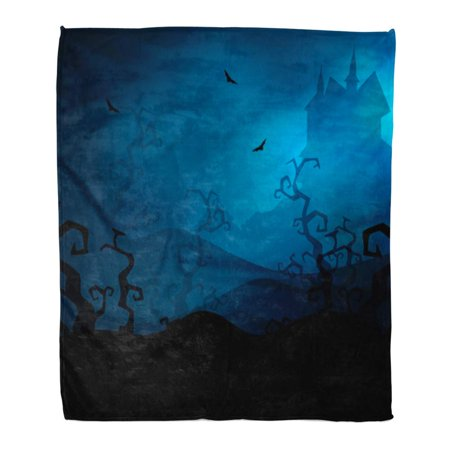 ASHLEIGH Throw Blanket Warm Cozy Print Flannel Haunted Scary Halloween Night Castle Bats Comfortable Soft for Bed Sofa and Couch 58x80 Inches](Haunted Castle Halloween 2017)