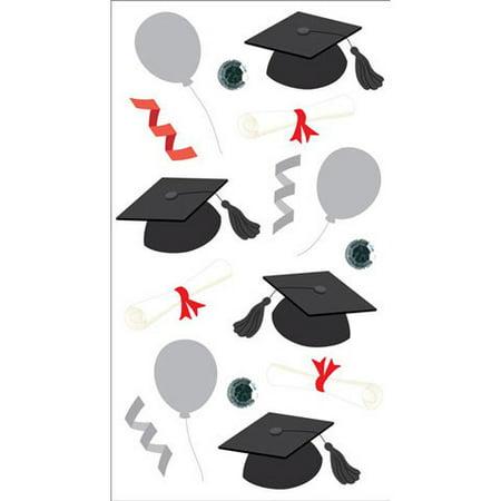 Jolees Boutique Sticker 3D Graduation Caps Vellum