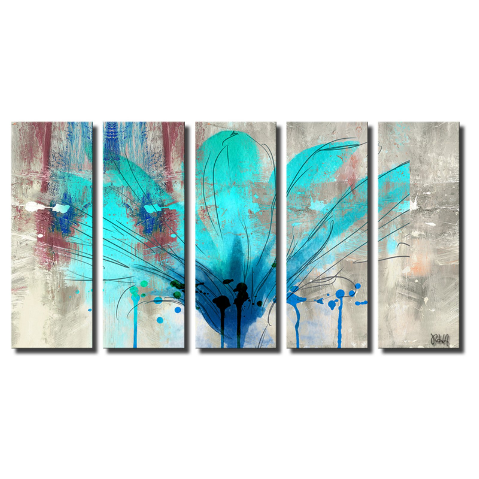 Ready2HangArt Painted Petals LII Canvas Wall Art - 5 pc. Set