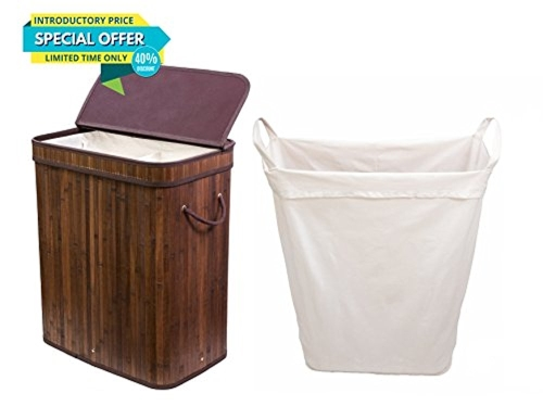 Adorn Home Single Double Bamboo Laundry Hamper with Attached Hinged Lid |Single and Double Cloth Liners | Handle on... by Adorn Home Essentials
