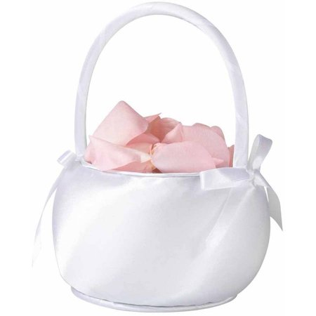 Lillian Rose Satin Flower Girl Basket - White (White Flower Girl Basket)