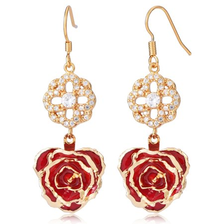 Hilitand Flower Dangle Earrings for Women 24K Gold Dipped Rose Indian Drop Earrings Jewelry for Her Birthday Gift ()