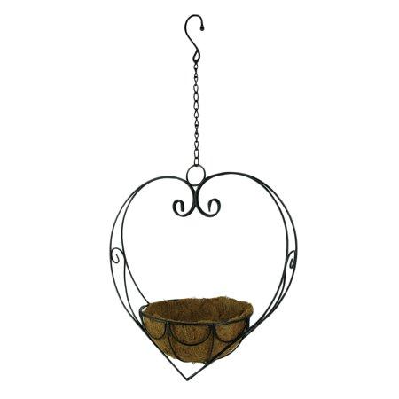 - Black Scroll Heart Metal Hanging Basket with Coconut Fiber Liner