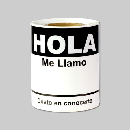 Black Hola Me Llamo Gusto En Conocerte Labels   Black Spanish Name Tag Identification Stickers  White Black   4  X 2 31     100 Labels Per Package