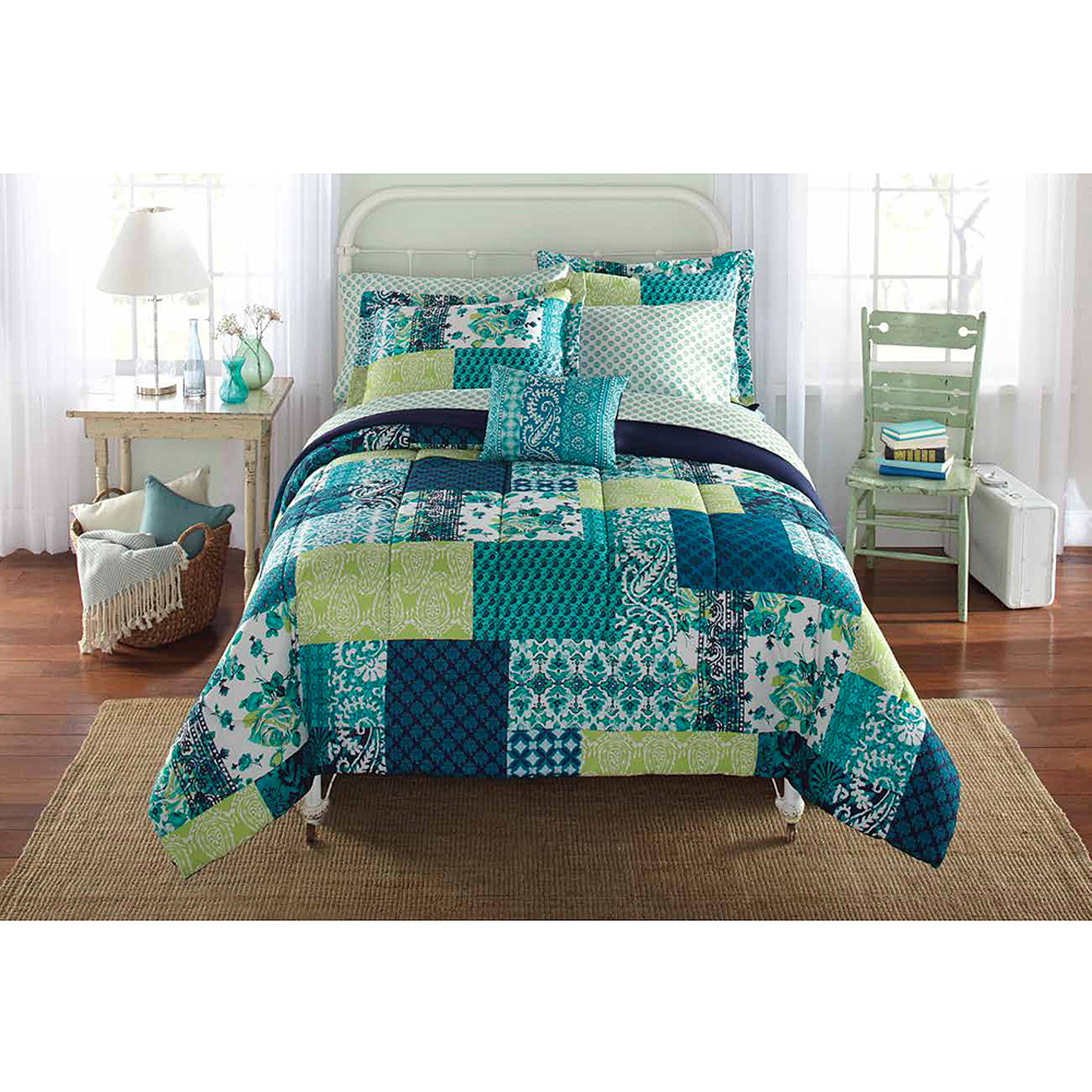 mainstays bed-in-a-bag bedding comforter set, teal patch - walmart