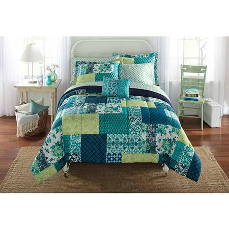 Mainstays Bed In A Bag Bedding Comforter Set Teal Patch
