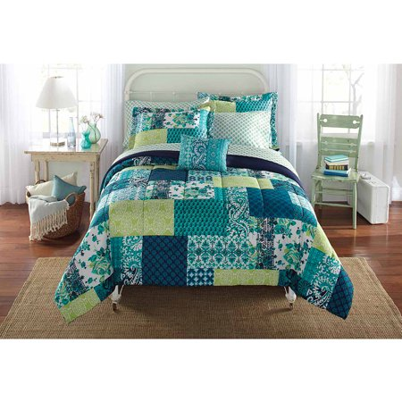 Mainstays Bed In A Bag Bedding Comforter Set Teal Patch