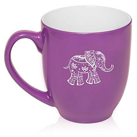 16 oz Large Bistro Mug Ceramic Coffee Tea Glass Cup Festive Elephant (Purple) - Ceramic Elephant