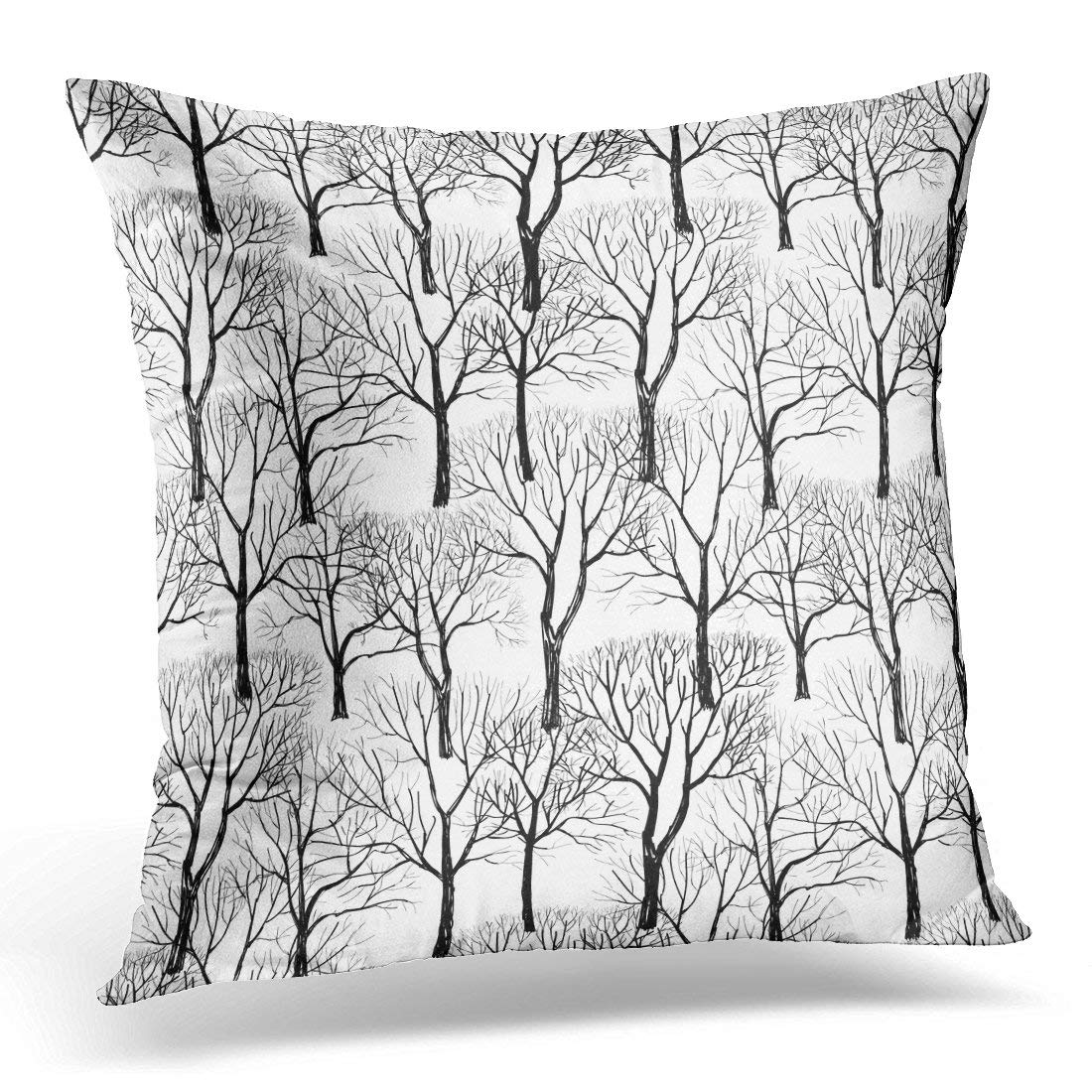 USART Black Winter Tree Without Leaves White Branches Plant Forest Branch Pillows case 20x20 Inches Home Decor Sofa Cushion Cover
