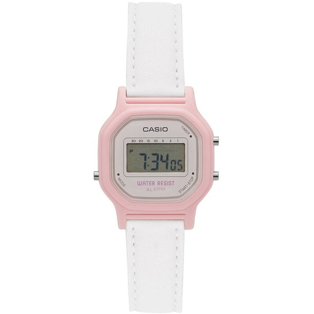 Women's Casual Digital Watch, White/Pink LA11WL-4A
