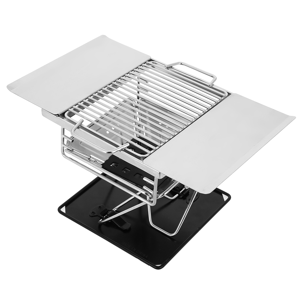 WALFRONT Outdoor Foldable Portable Stainless Steel Barbecue Grill Charcoal Rack for BBQ Picnic , Charcoal Grill, Picnic Grill