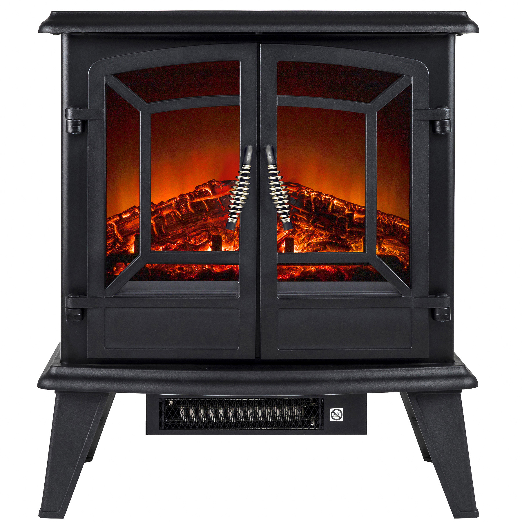 "AKDY FP0075 20"" Freestanding Black Electric Fireplace Heater 3D Flames Firebox w/ Logs"
