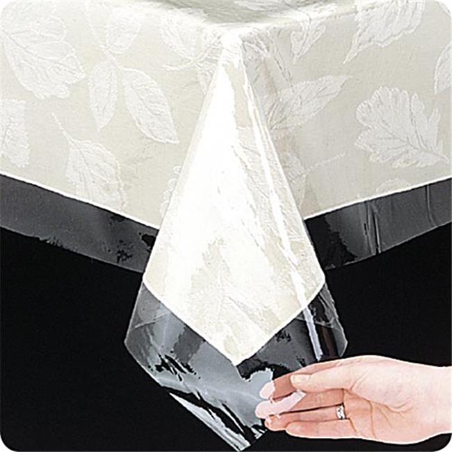 "Clear 3 gauge vinyl tablecloth protector, size 60""x108"" oblong"