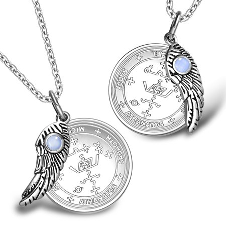Love Couples Archangel Michael Sigils Amulets Set Angel Wings Sky Blue Simulated Cats Eye Charm Necklaces
