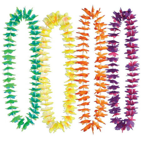 50 Vibrant Multi-Color Flower Tropical Luau Birthday Party Lei Necklaces 40